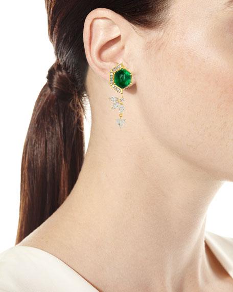 20k Hexagon Emerald & Diamond Drop Earrings