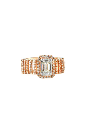 Andreoli 18k Pavé & Baguette Wide Diamond Ring, Size 7