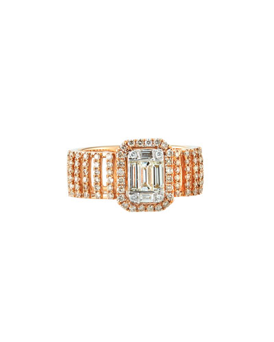 18k Pavé & Baguette Wide Diamond Ring, Size 7