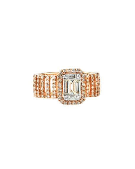 Andreoli 18k Pavé & Baguette Wide Diamond Ring,