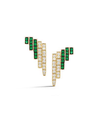 18k Modern Deco Diamond & Emerald Earrings