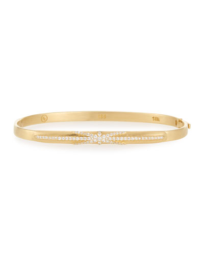 18k Gold Northstar Diamond Hinged Huggie Bangle Bracelet