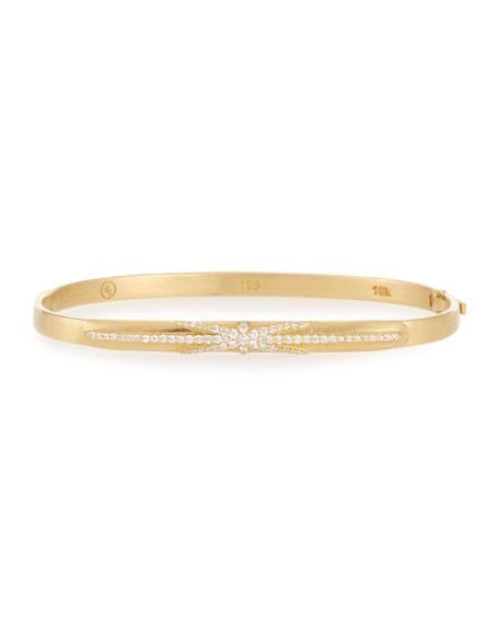 18k Gold Northstar Diamond Hinged Huggie Bangle Bracelet