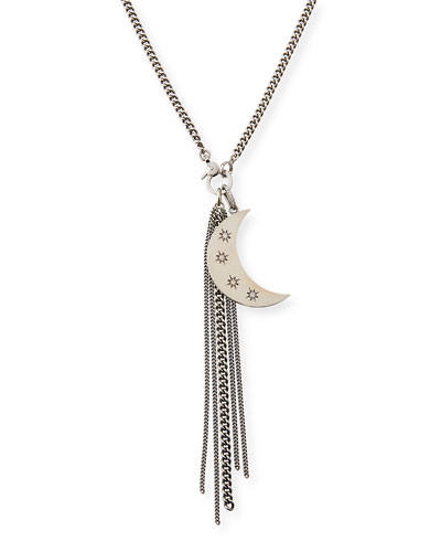 Diamond Star & Crescent Fringe Necklace, 34