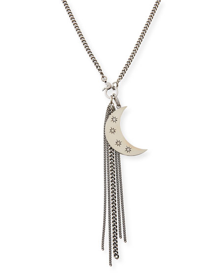 Diamond Star & Crescent Fringe Necklace, 34""