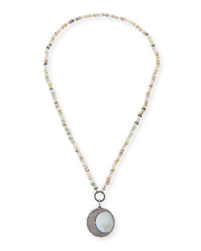 Long Moonstone Crescent Pendant Necklace