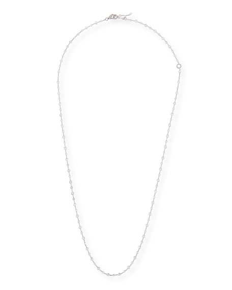 18k White Gold Rose-Cut Diamond Station Necklace, 32""