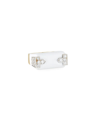 18k White Enamel & Diamond Hero Ring  Size 6.5