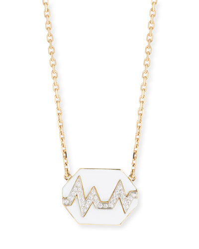 18k Skip Necklace w/ Enamel & Diamonds