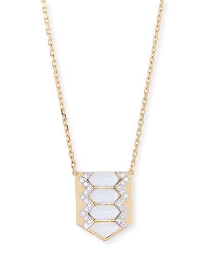 Motif Diamond & White Enamel Shield Necklace
