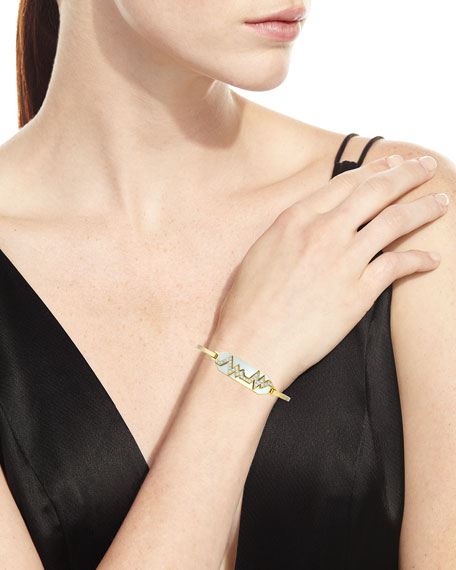 """Motif"" 18k Gold Diamond Skip Zigzag Bracelet with White Enamel & Platinum"