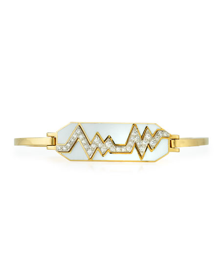 David Webb Motif 18k Gold Diamond Skip Zigzag Bracelet with Black Enamel & Platinum czGngt2QdI