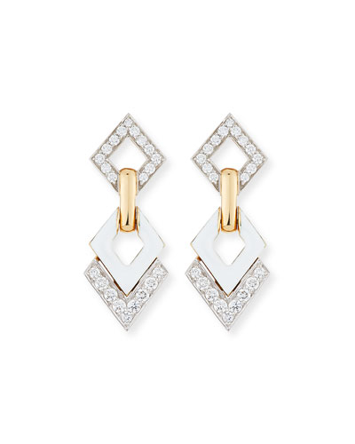 White Enamel & Diamond Interlocking Diamond Earrings