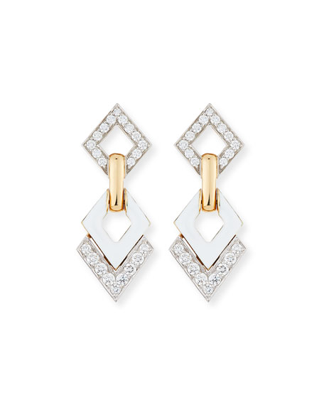White Enamel & Diamond Interlocking Diamond Earrings