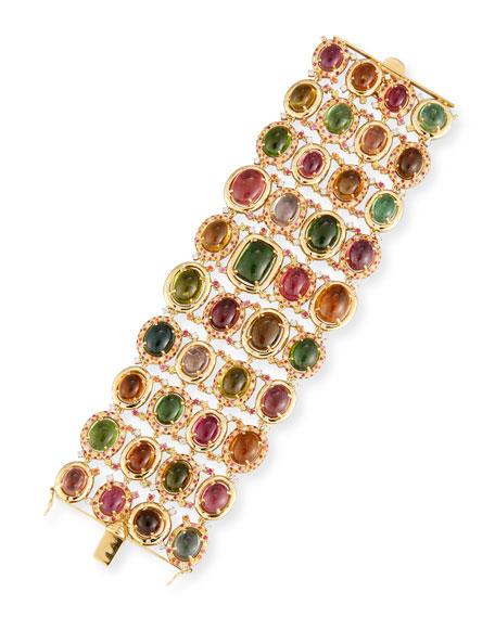 18k Gold Multi-Tourmaline Bracelet w/ Diamonds