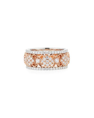Narrow Filigree Diamond All-Around Band Ring  Size 6