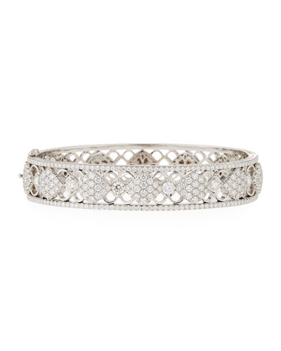 18k Gold Filigree Diamond Bangle Bracelet