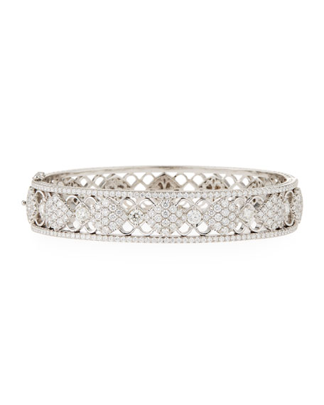 18k Gold Filigree Diamond Bangle Bracelet