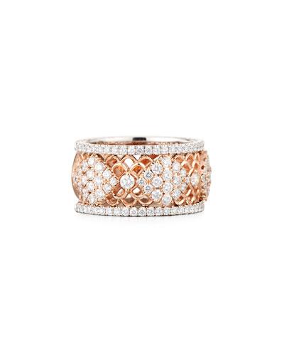 Wide Filigree Diamond Band Ring  Size 6.5