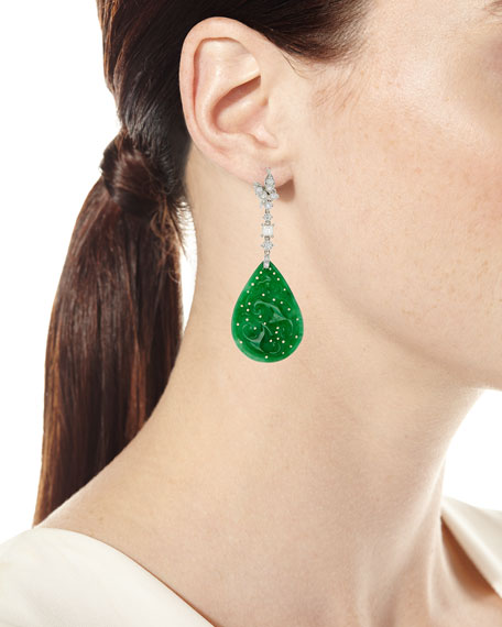 18k Jadeite & Diamond Pear Drop Earrings