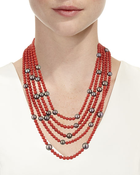 18k Five-Row Pearl & Sardinian Coral Necklace