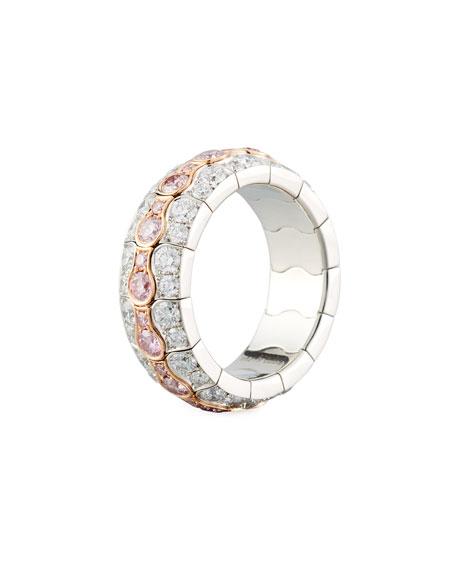 18k Two-Tone Diamond Pavé Ring, Size 6 3/4