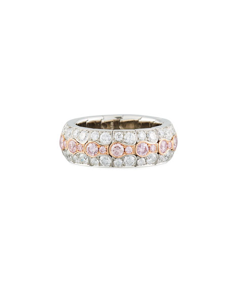 18k Two-Tone Diamond Pave Ring, Size 6 3/4