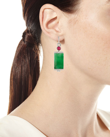 18k Rectangular Jade and Diamond Drop Earrings