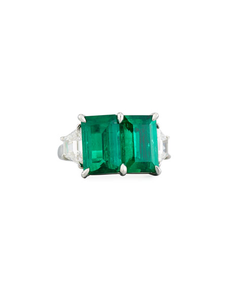 N-M Jewelry Shop Platinum Emerald & Diamond Ring