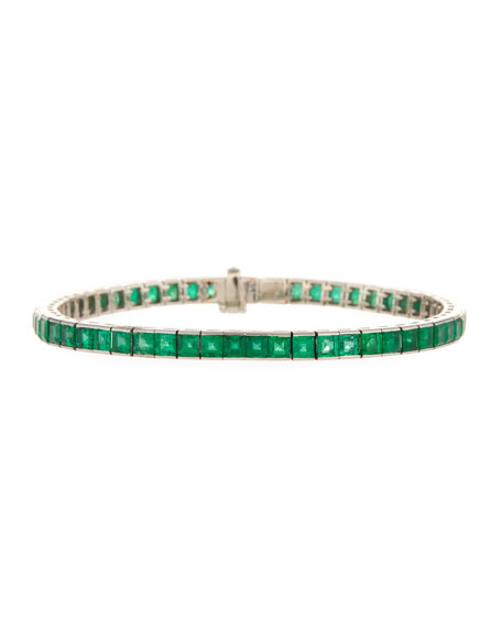 Estate Platinum Emerald Line Bracelet