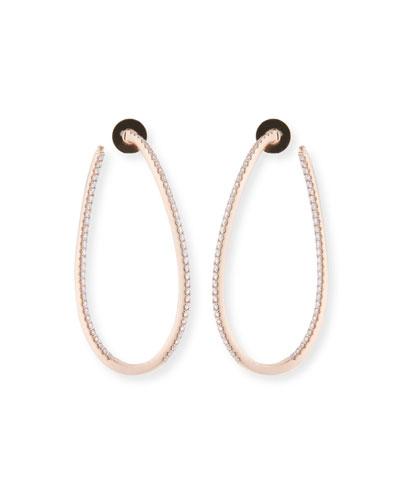 Diamond Pavé Hoop & Huggie Earrings, 18k Rose Gold