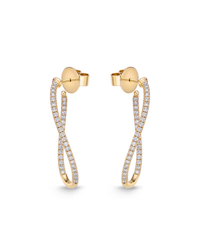 Diamond Pavé Hoop & Huggie Earrings, 18k Yellow Gold