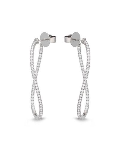 Diamond Pavé Hoop & Huggie Earrings, 18k White Gold