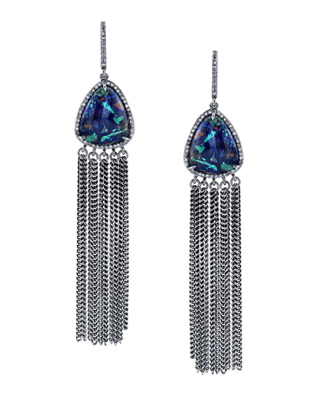 Sheryl Lowe Azurite Fringe Drop Earrings ORZ79r