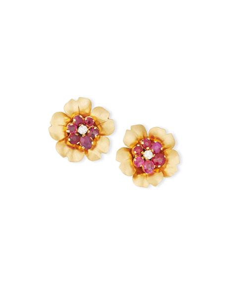 Turner & Tatler Ruby & Diamond Flowerhead Earrings VQCRjfp