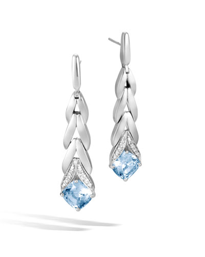 Modern Chain Magic Cut Drop Earrings in Blue Topaz & Diamonds
