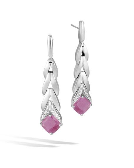 Magic Cut Modern Chain Drop Earrings w/ Diamonds in Pink Sheen Sapphire