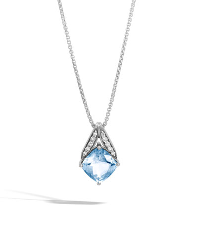Modern Chain Magic Cut Pendant Necklace in Blue Topaz