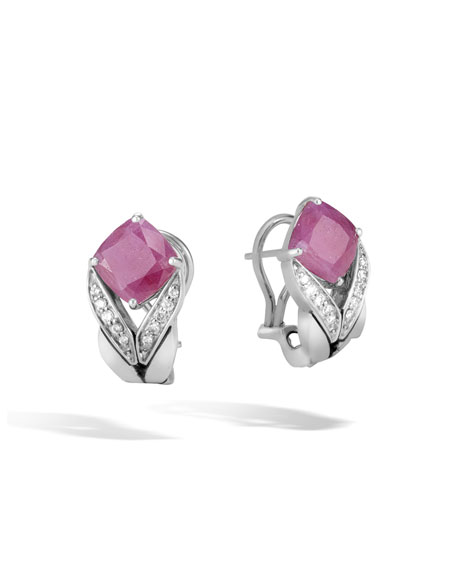 John Hardy Magic Cut Drop Earring With Pink Sheen Sapphire And Diamonds Pink sheen sapphire 4fdizAZ