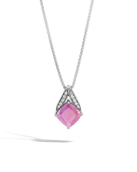 Modern Chain Silver Pave Magic Cut Pendant Necklace in Pink Sheen Sapphire, 16""