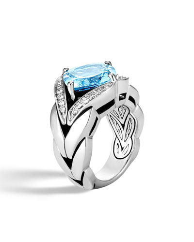 Modern Chain Silver Diamond Pave Magic Cut Ring with Blue Topaz, Size 8
