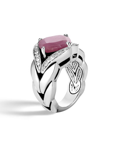 Modern Chain Silver Diamond Pave Magic Cut Ring with Pink Sheen Sapphire, Size 8