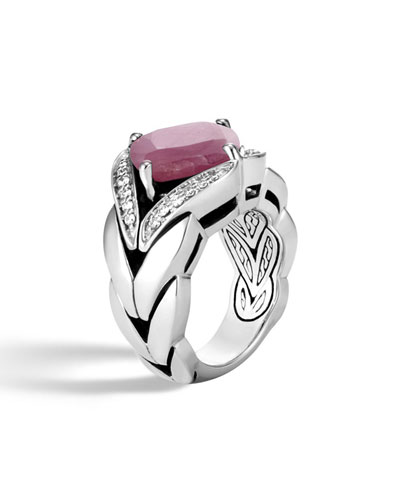 Modern Chain Silver Diamond Pave Magic Cut Ring with Pink Sheen Sapphire, Size 7