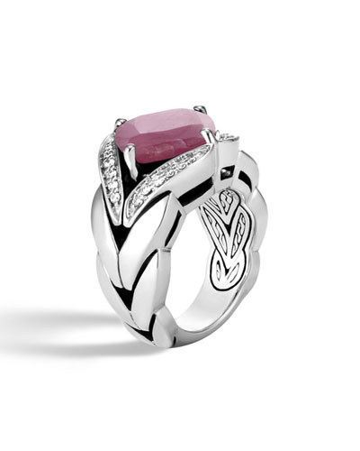 Modern Chain Silver Diamond Pave Magic Cut Ring with Pink Sheen Sapphire, Size 6