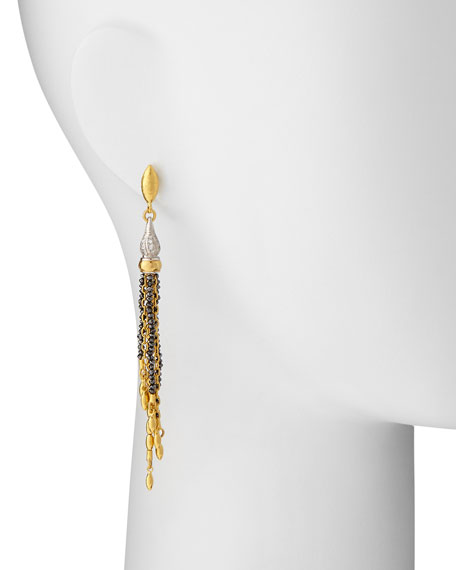 Sultan Collection White & Black Diamond Tassel Earrings