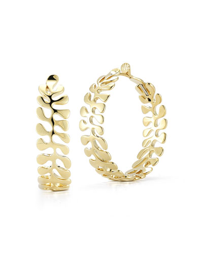 18k Gold Sea Leaf Hoop Earrings