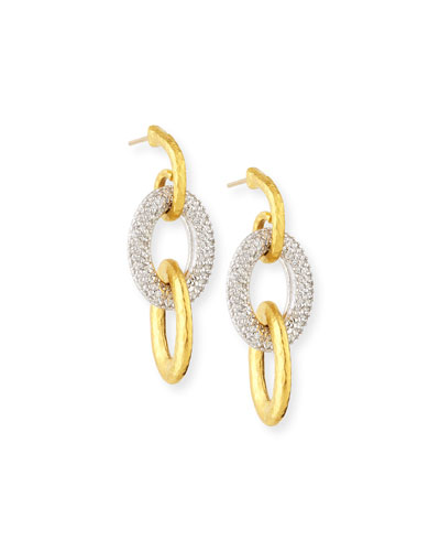 24k Triple Galahad Earrings with Diamonds