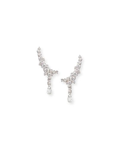 18k White Gold Confetti Diamond Climber Earrings