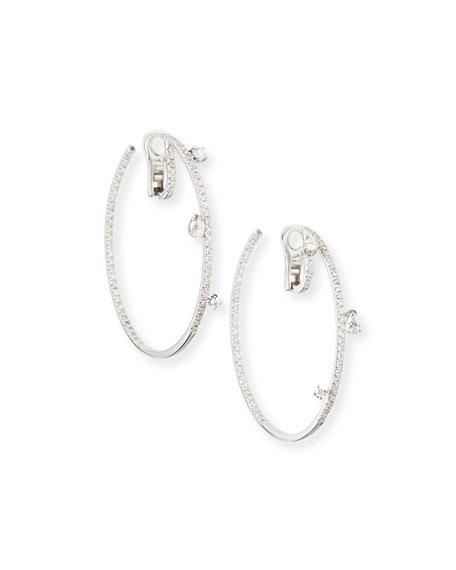 18k White Gold Spaghetti Diamond Hoop Earrings, 2.2 cts