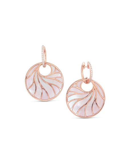 Medium Pink Mother-of-Pearl & Diamond Venus Earrings